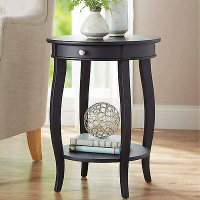 Bentwood Accent Round Sofa Side End Table With Storage Bag Pertaining To Porch & Den Shilshole Tempered Glass Bentwood Accent Tables (View 19 of 47)