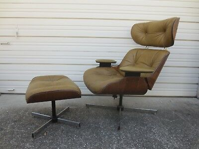 Bentwood Lounge Chair Curved Plycraft Selig Sty Eames Era Mid Century Modern +O Throughout Porch & Den Shilshole Tempered Glass Bentwood Accent Tables (View 27 of 47)