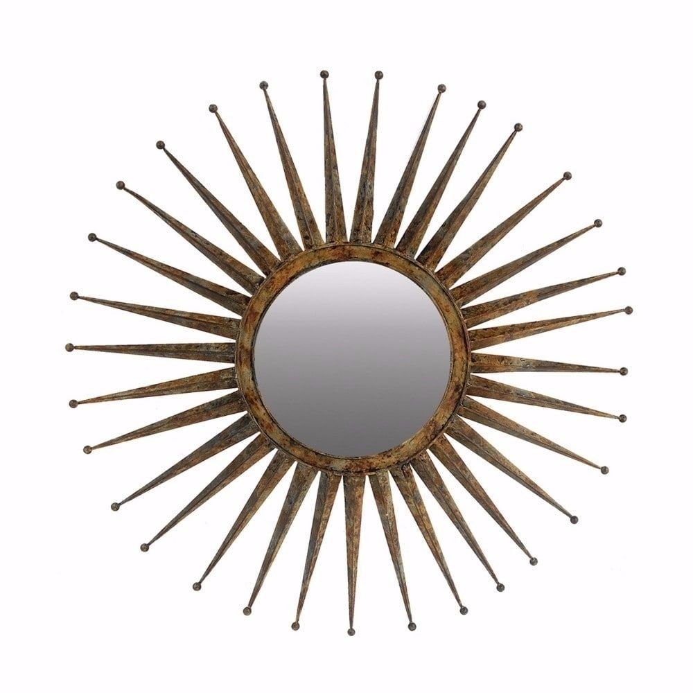 Benzara Antiquely Styled Golden Flare Starburst Distressed Pertaining To Estrela Modern Sunburst Metal Wall Mirrors (View 17 of 20)
