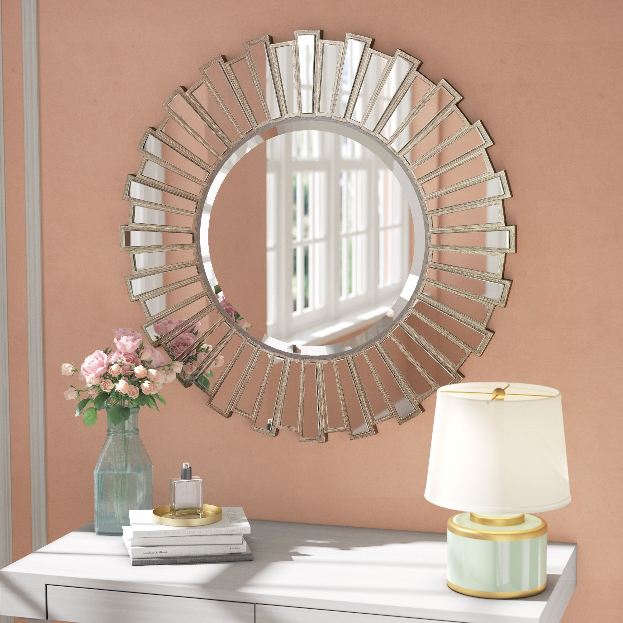 Bertrand Sunburst Resin Accent Wall Mirror Intended For Accent Wall Mirrors (Image 6 of 20)