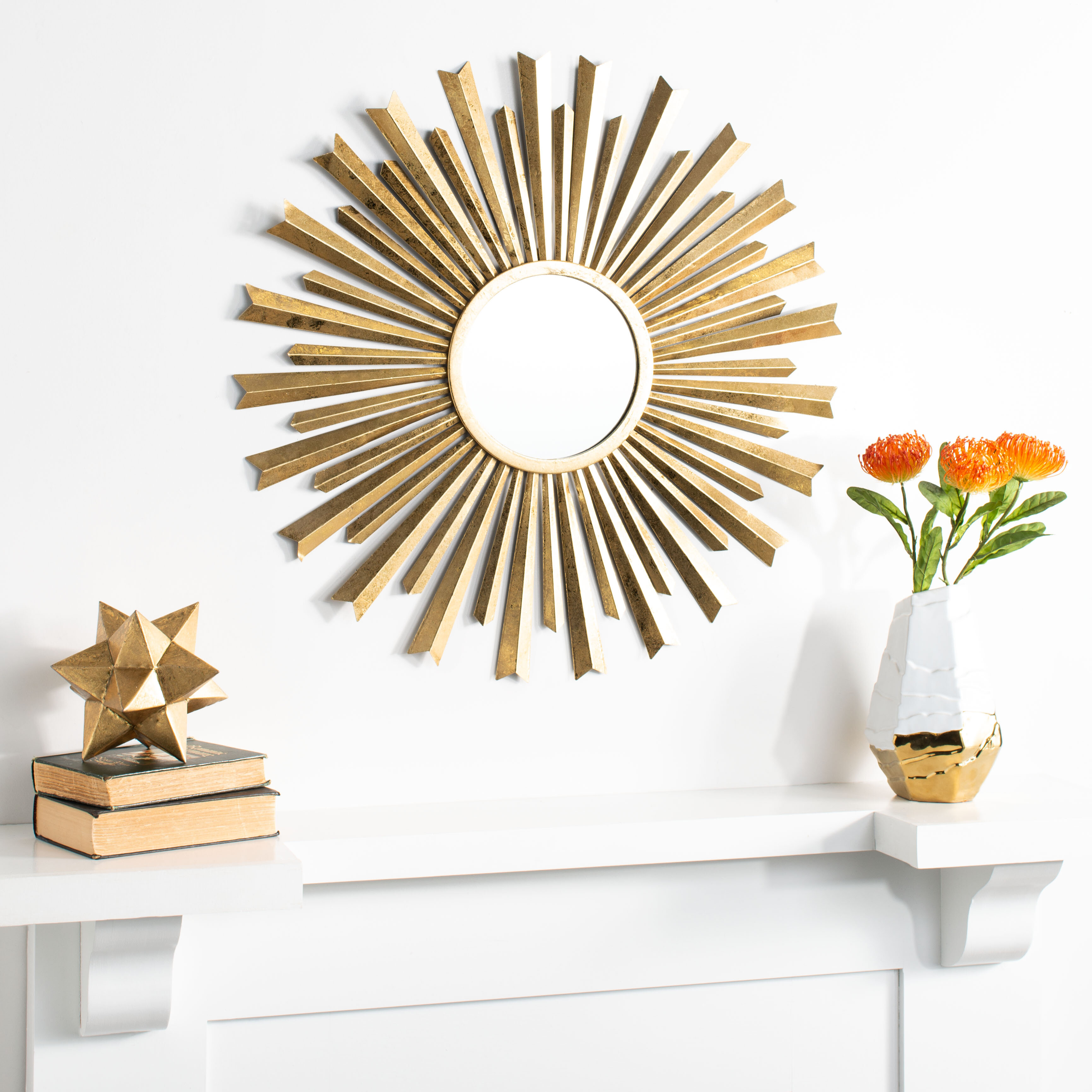 Berwyn Sunburst Modern And Contemporary Accent Mirror For Harbert Modern And Contemporary Distressed Accent Mirrors (Image 1 of 20)
