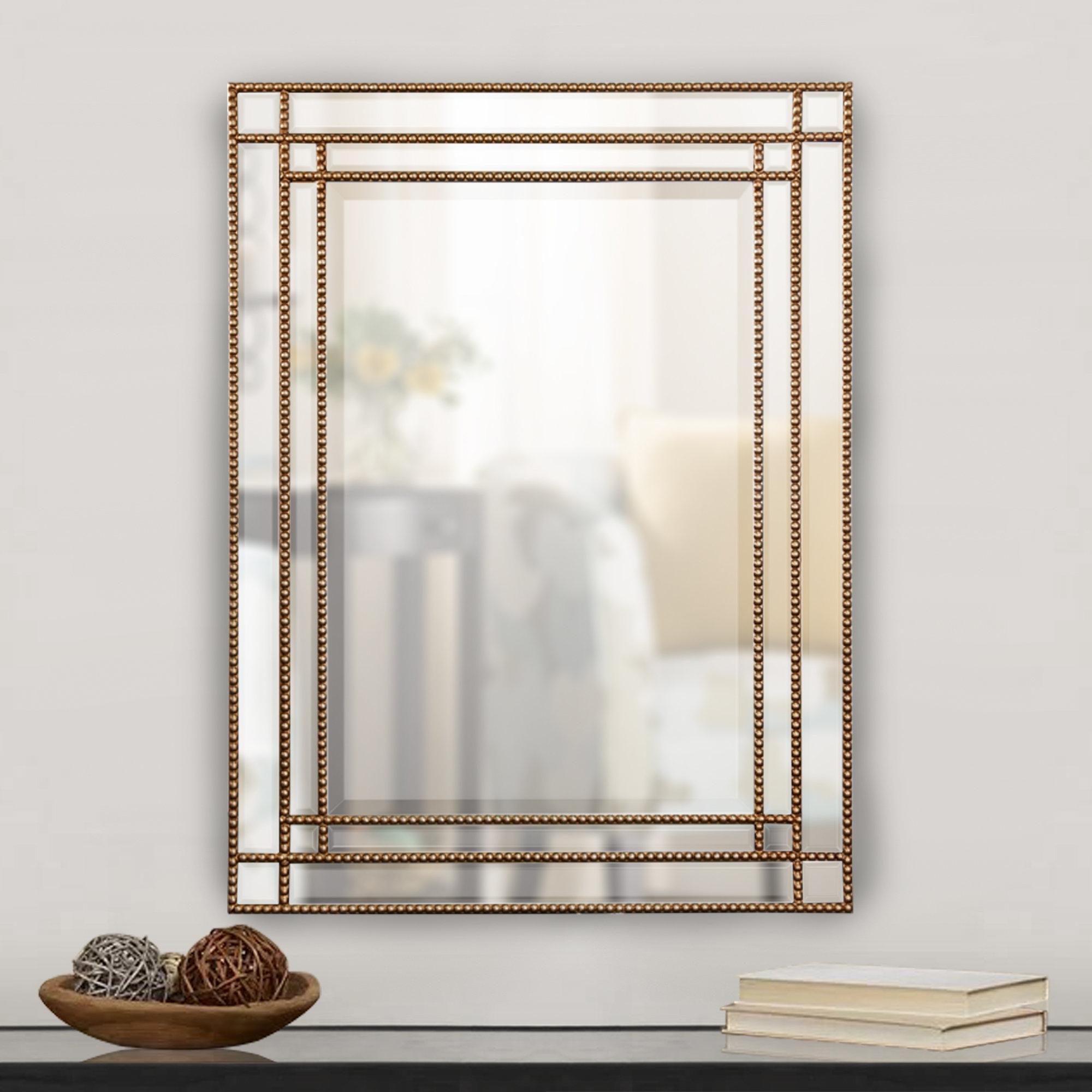 Beveled Beaded Mirror | Wayfair Regarding Vassallo Beaded Bronze Beveled Wall Mirrors (Image 3 of 20)