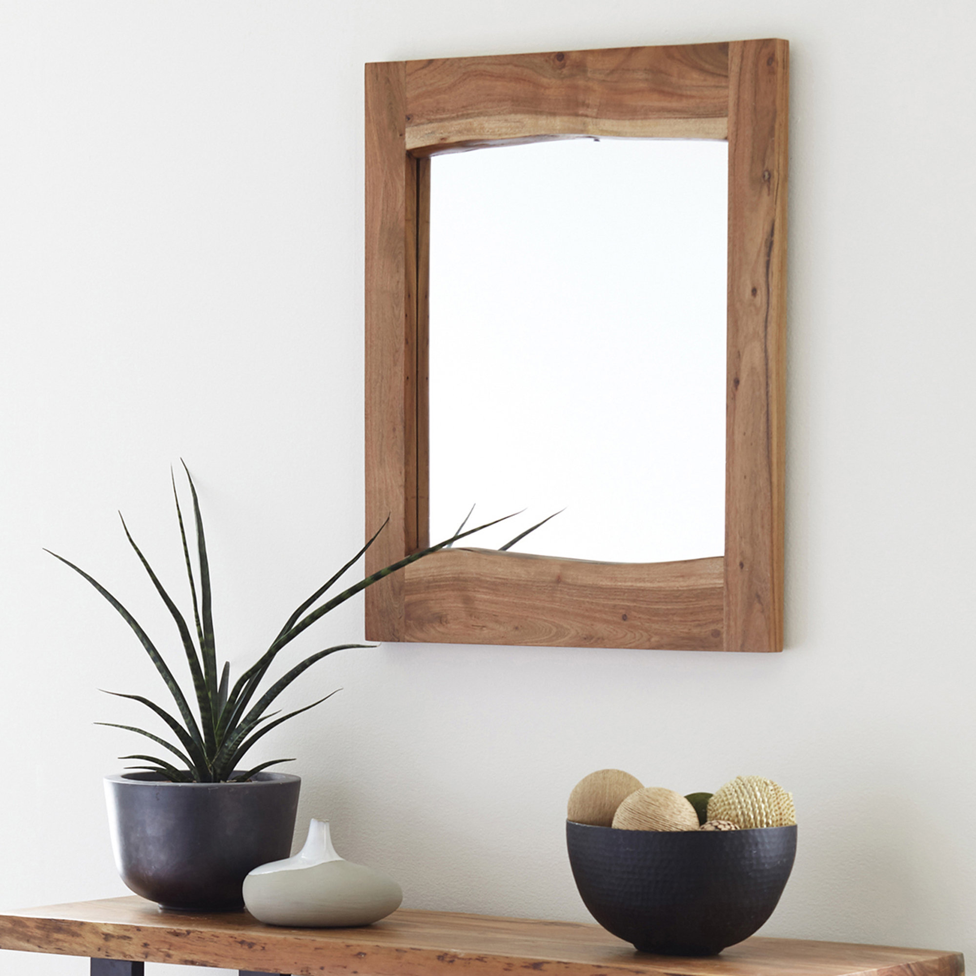 Bexton Live Edge Natural Wall Mirror & Reviews | Joss & Main With Regard To Stamey Wall Mirrors (Image 5 of 20)