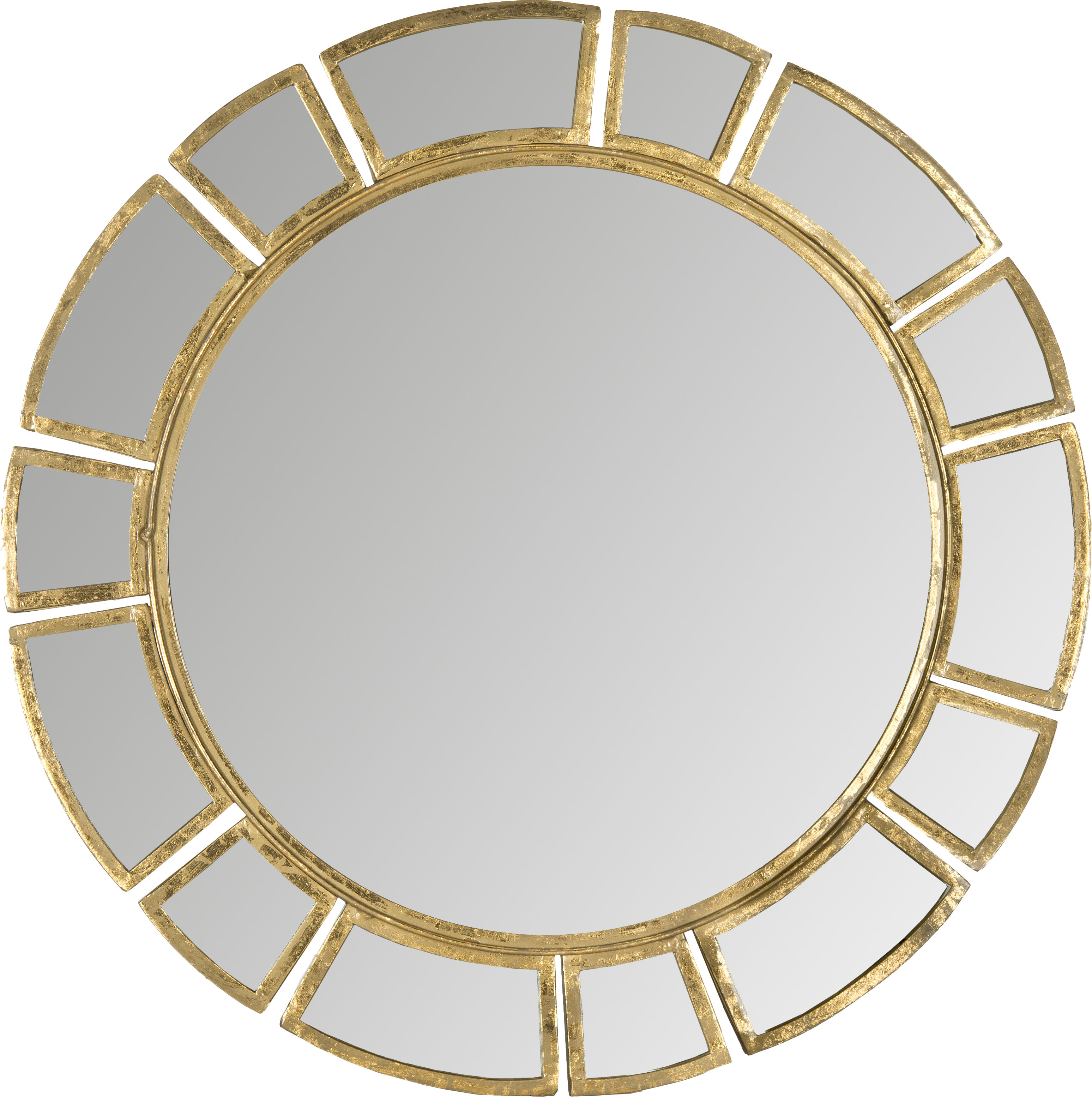 Birksgate Round Antique Gold Patina Sunburst Wall Mirror In Tata Openwork Round Wall Mirrors (Image 5 of 20)