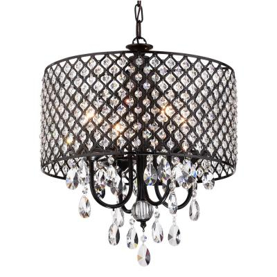Black – Crystal – Chandeliers – Lighting – The Home Depot Within Donna 4 Light Globe Chandeliers (View 17 of 20)