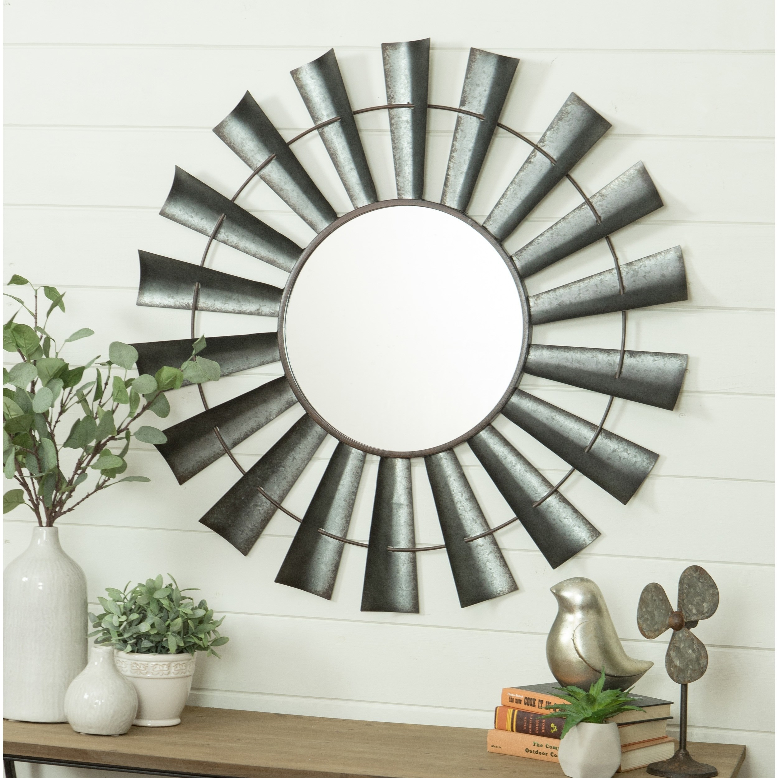 Bloomfield Windmill Wall Mirror – Grey – N/a, Aspire In Perillo Burst Wood Accent Mirrors (Image 1 of 20)