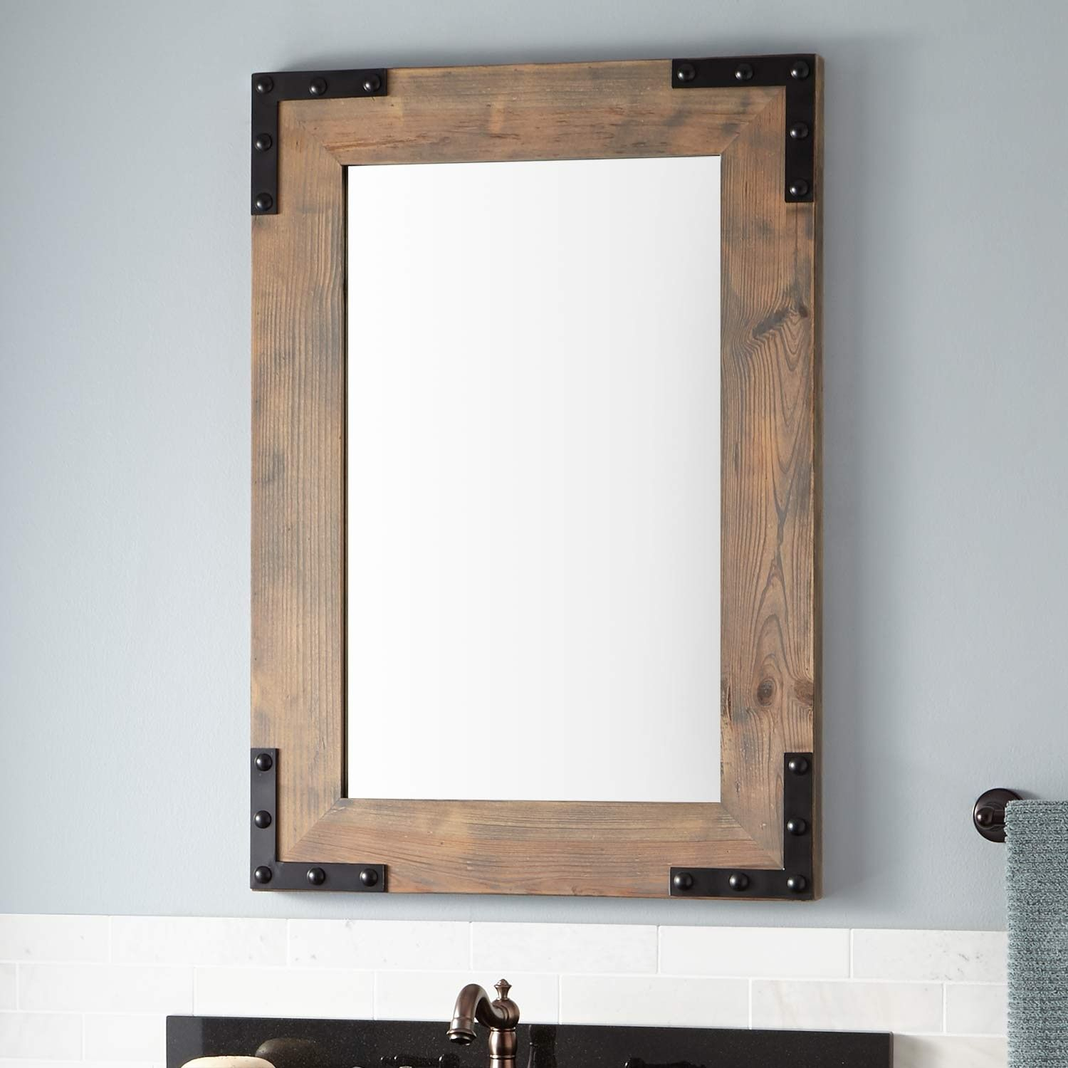 Bonner Reclaimed Wood Vanity Mirror – Gray Wash Pine | Camp Throughout Tifton Traditional Beveled Accent Mirrors (Image 4 of 20)