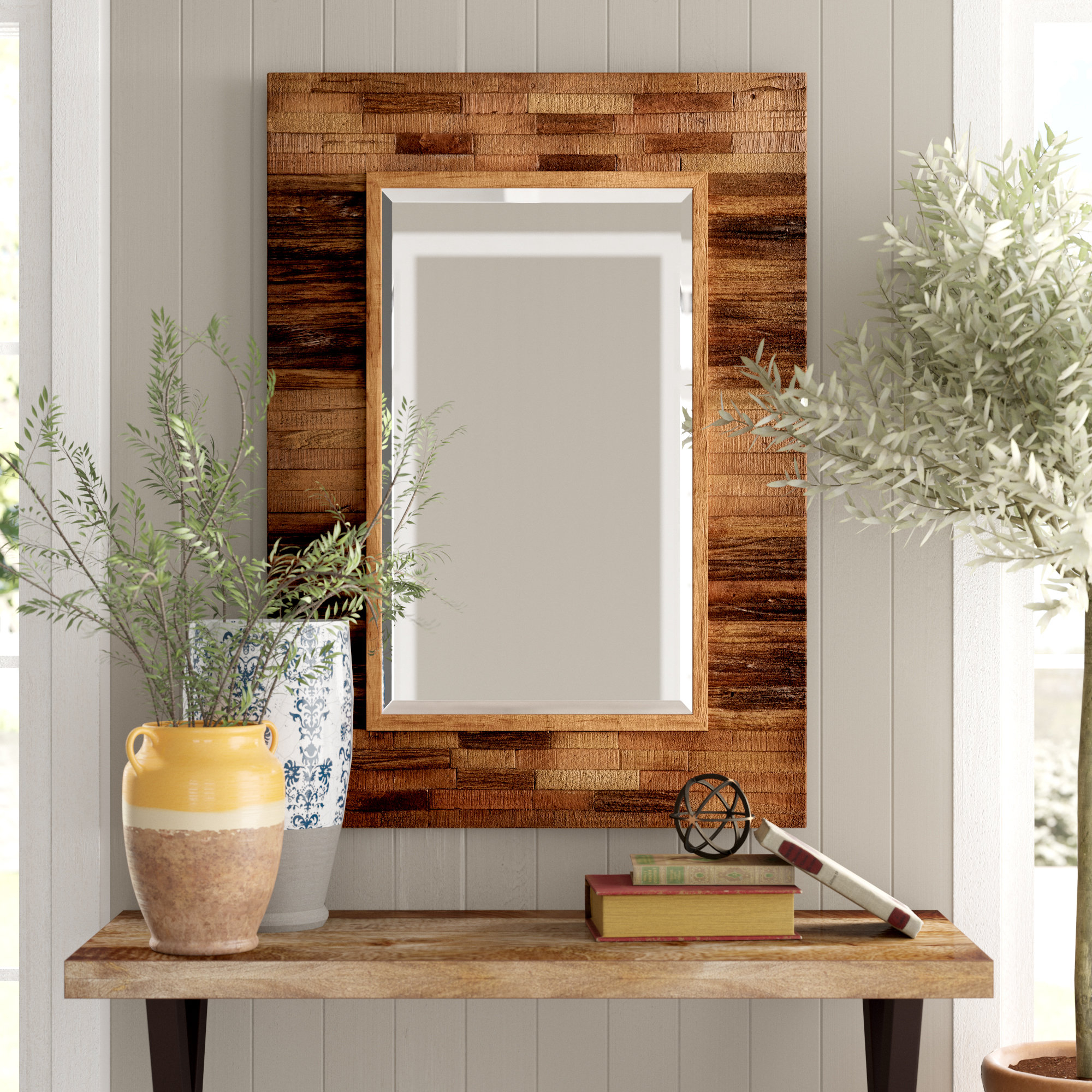 Booth Reclaimed Wall Mirror Accent Intended For Booth Reclaimed Wall Mirrors Accent (Image 2 of 20)