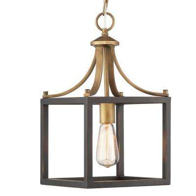 Boswell Quarter Collection 1 Light Vintage Brass Mini Pendant With Painted Black Distressed Wood Accents Regarding Vintage Edison 1 Light Bowl Pendants (View 24 of 25)