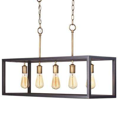 Boswell Quarter Collection 5 Light Vintage Brass Island Chandelier With Painted Black Distressed Wood Accents Pertaining To Gaines 5 Light Shaded Chandeliers (View 13 of 20)