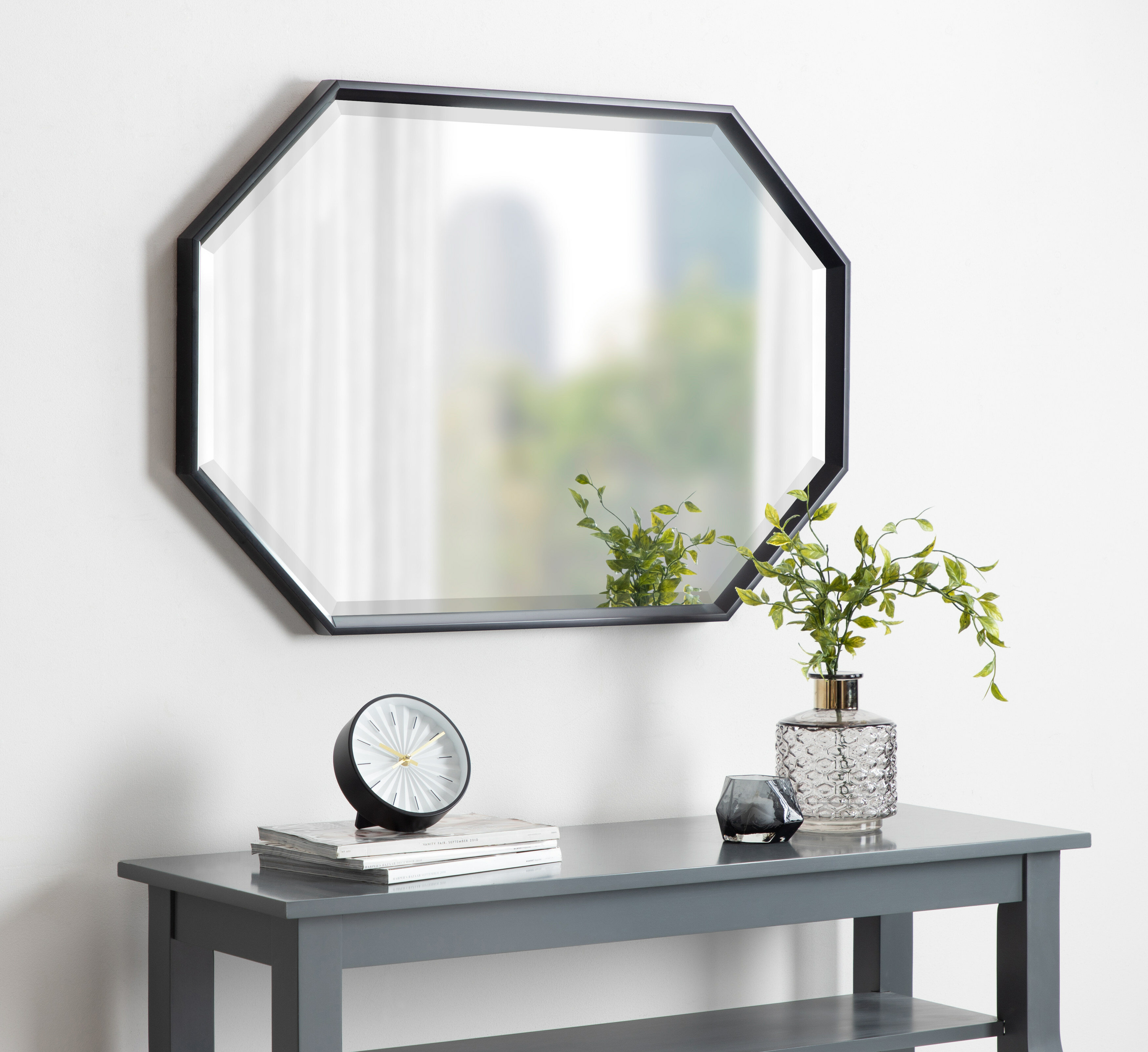 Botello Elongated Octagon Modern Beveled Accent Mirror In Accent Mirrors (Image 12 of 20)