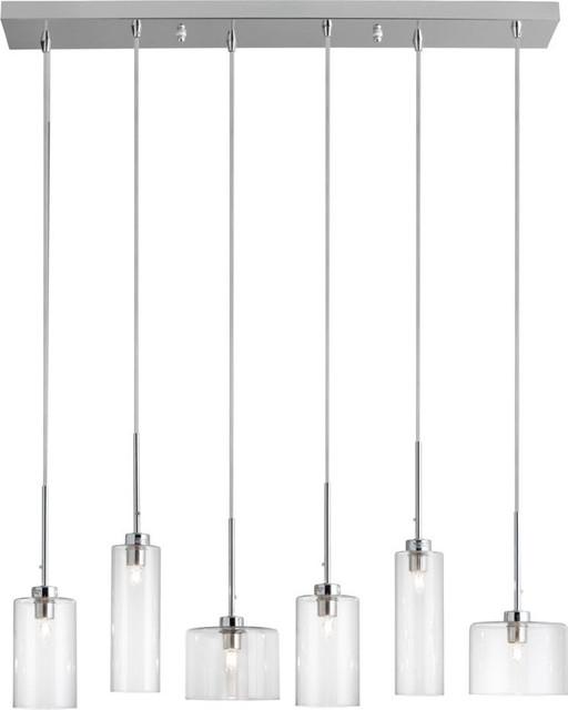 Bottega 6 Light Horizontal Pendant, Clear Intended For Granville 2 Light Single Dome Pendants (View 21 of 25)