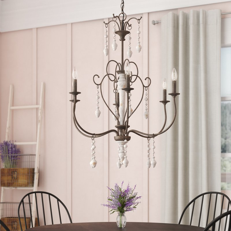 Bouchette Traditional 6 Light Candle Style Chandelier Within Bouchette Traditional 6 Light Candle Style Chandeliers (View 2 of 20)