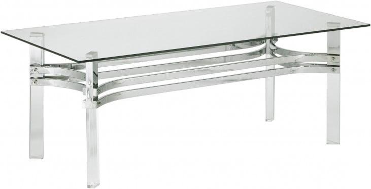 Braddoni Chrome Rectangular Cocktail Table Inside Kisper Rectangular Cocktail Tables (View 37 of 48)