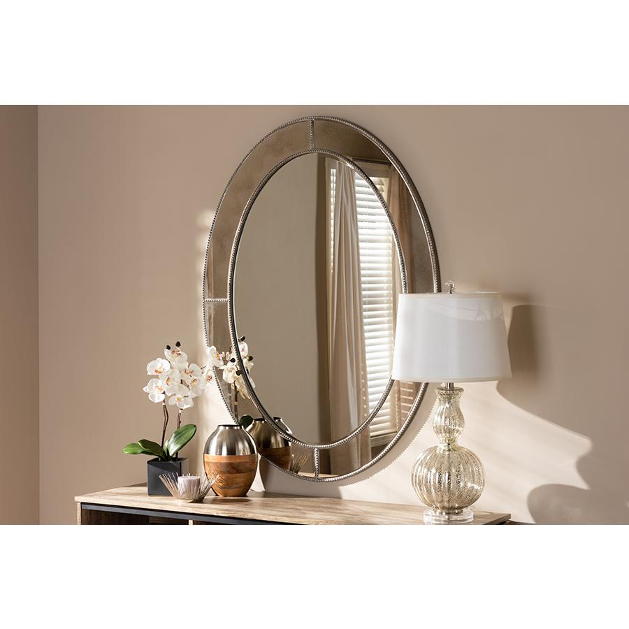 Branca Modern And Contemporary Antique Silver Finished Oval Accent Wall Mirrorbaxton Studio Throughout Modern & Contemporary Beveled Accent Mirrors (View 16 of 20)