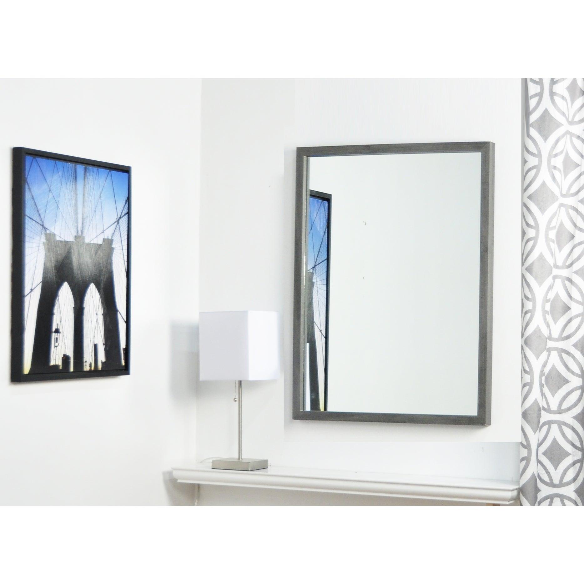 Brandtworks Minimal Slate Gray Framed Vanity Wall Mirror  (Image 2 of 20)