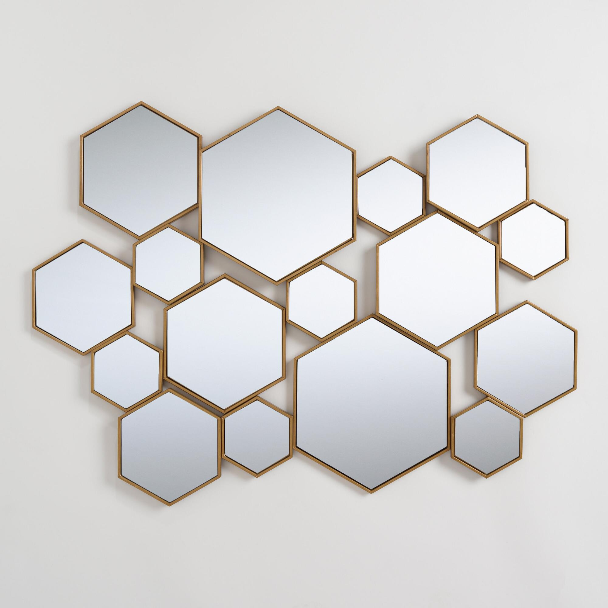 Brass Metal Hexagon Mirror Panel: Metallic/goldworld In Swagger Accent Wall Mirrors (View 15 of 20)