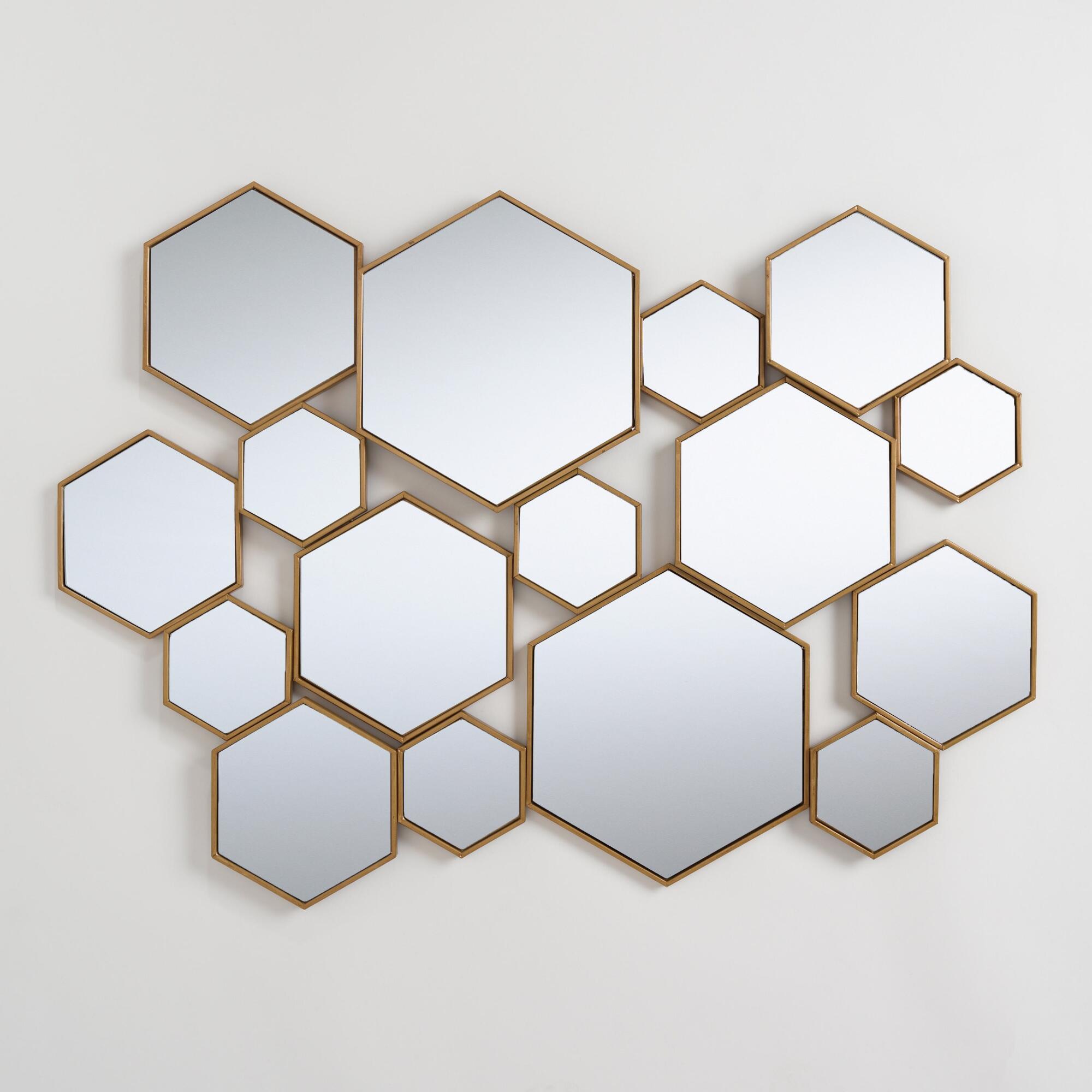 Brass Metal Hexagon Mirror Panel: Metallic/goldworld Within Gia Hexagon Accent Mirrors (Image 3 of 20)