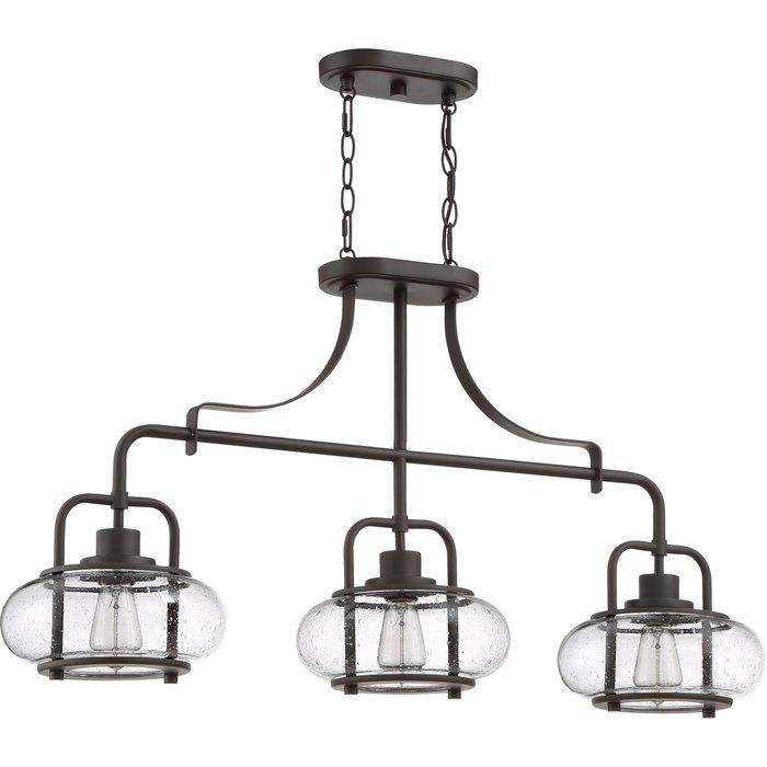 Braxton 3 Light Kitchen Island Linear Pendant | Lighting In Within Adriana Black 1 Light Single Dome Pendants (Image 12 of 25)