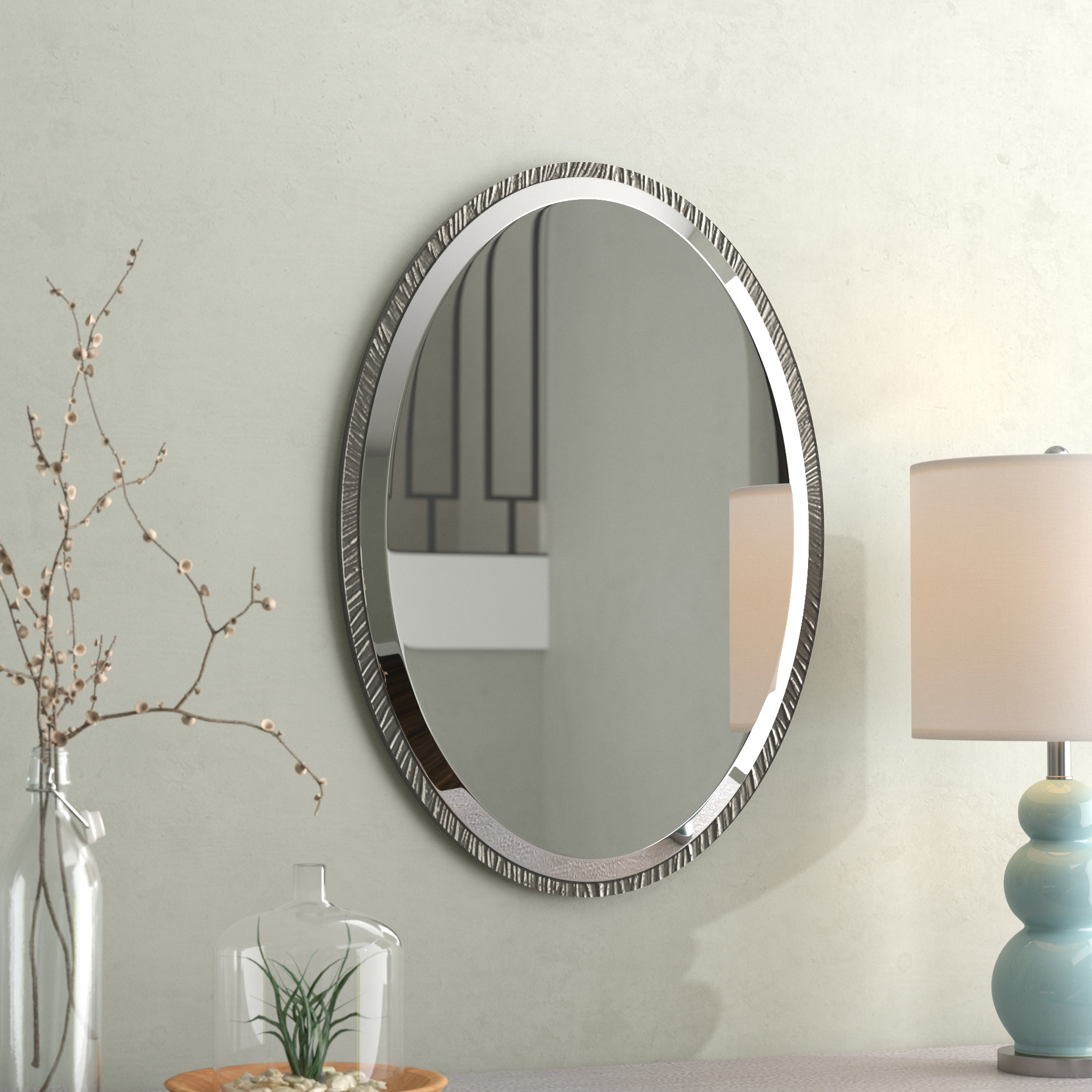 Brayden Studio Oval Polished Nickel Wall Mirror & Reviews For Glen View Beaded Oval Traditional Accent Mirrors (View 8 of 20)