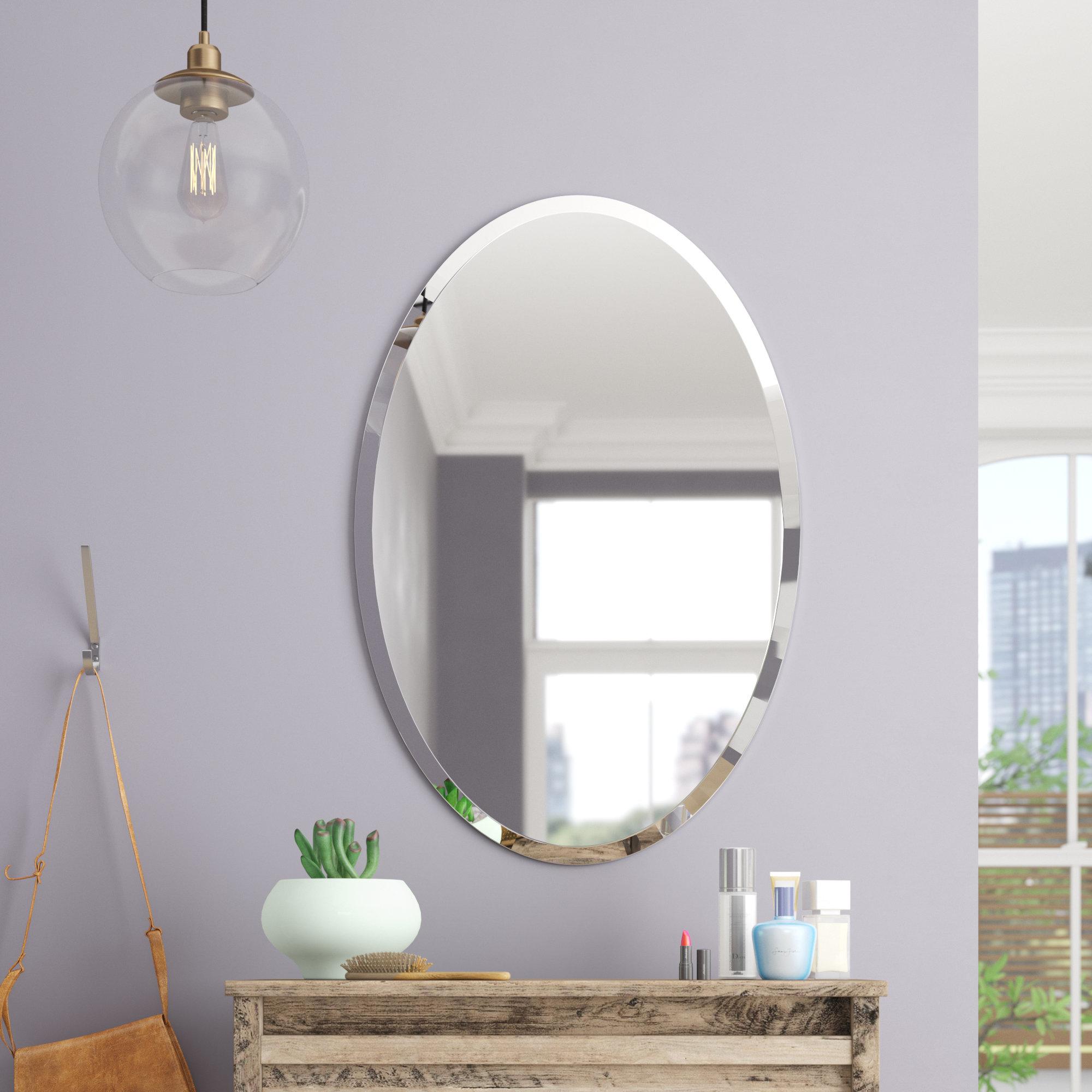 Brayden Studio Thornbury Oval Bevel Frameless Wall Mirror Within Sajish Oval Crystal Wall Mirrors (View 4 of 20)