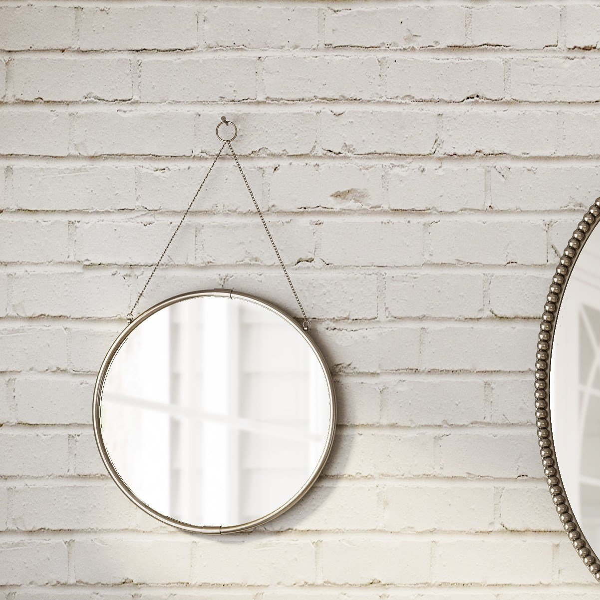 Brea Decorative Round Hanging Modern & Contemporary Wall Mirror With Regard To Decorative Round Wall Mirrors (Image 4 of 20)
