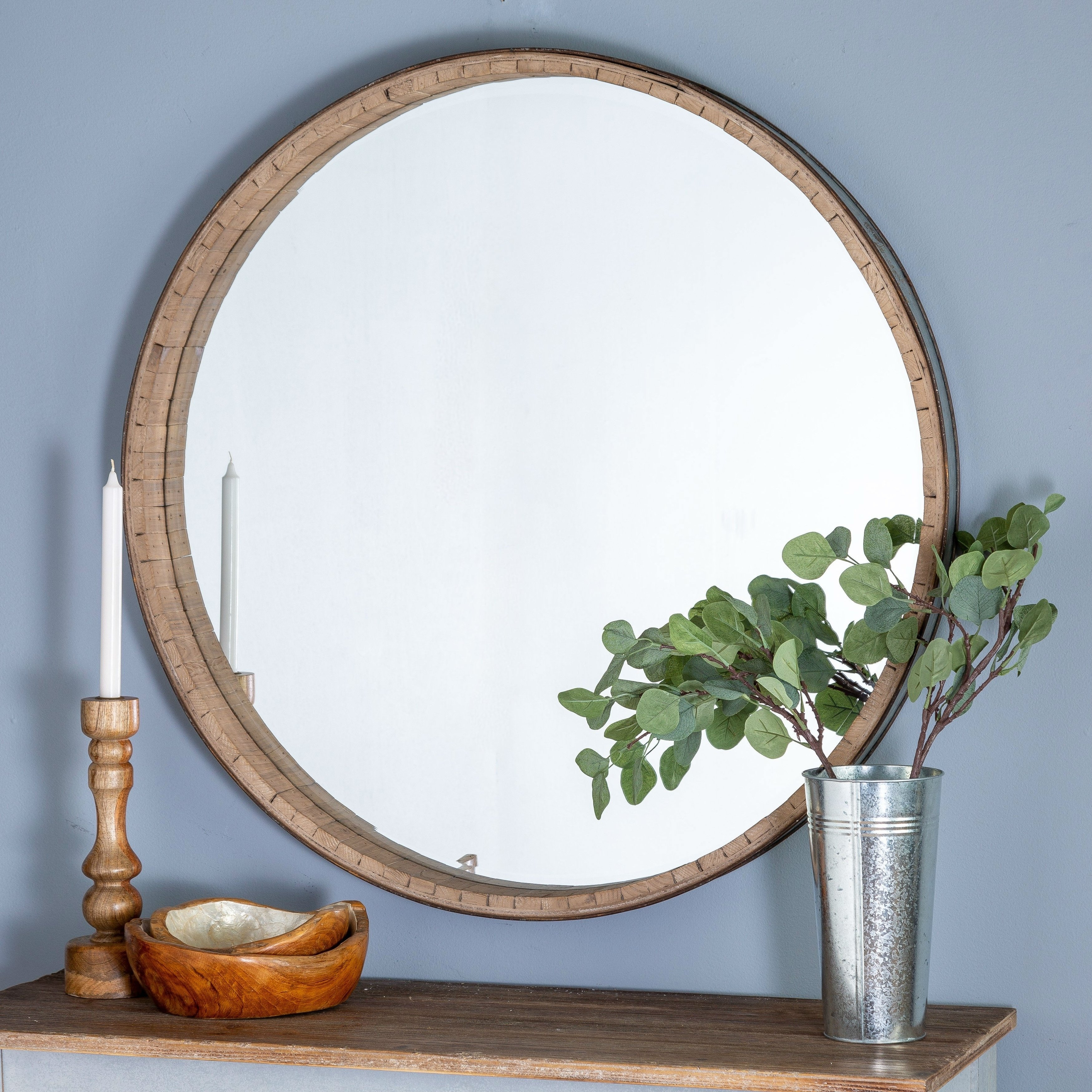 Brently Round Wood Wall Mirror – Brown | Products In 2019 Inside Arrigo Accent Mirrors (View 13 of 20)