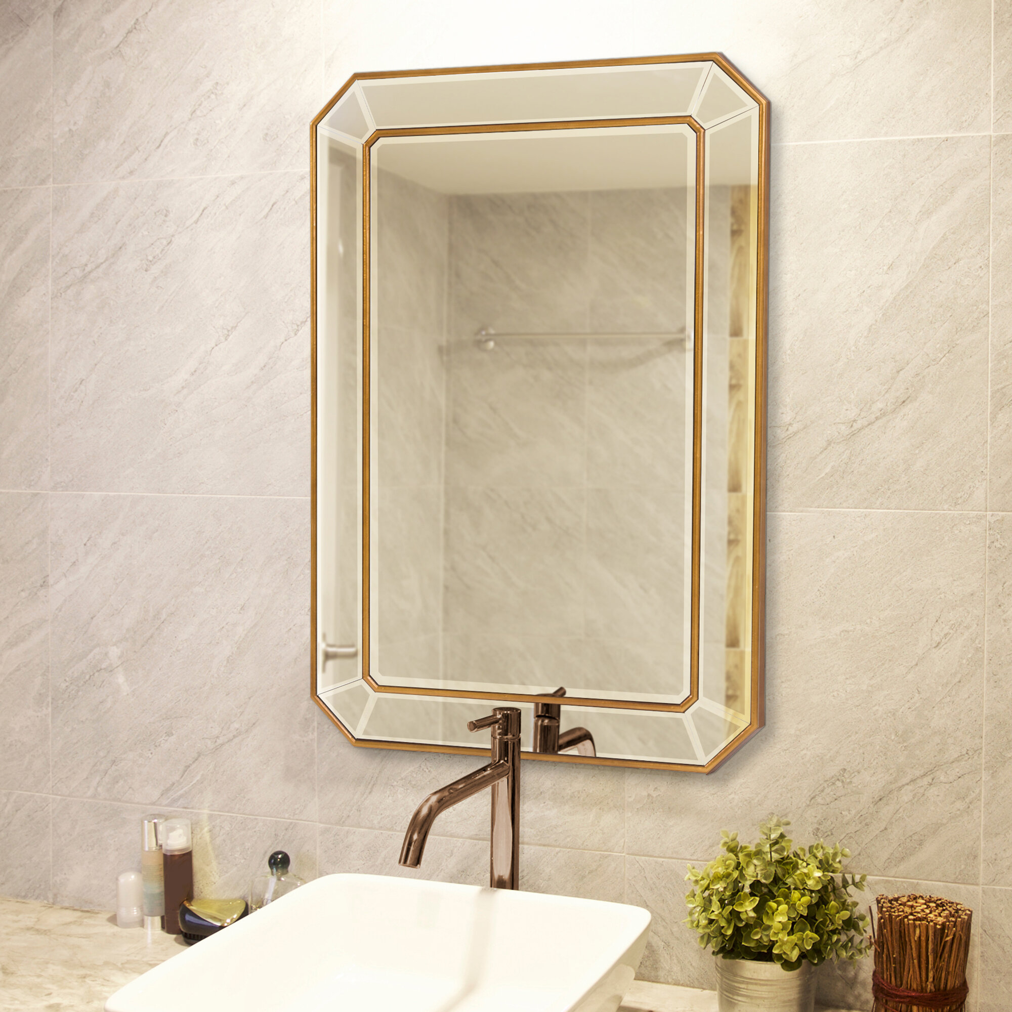 Briley Rectangle Gold Angled Accent Wall Mirror Pertaining To Rectangle Accent Wall Mirrors (View 8 of 20)
