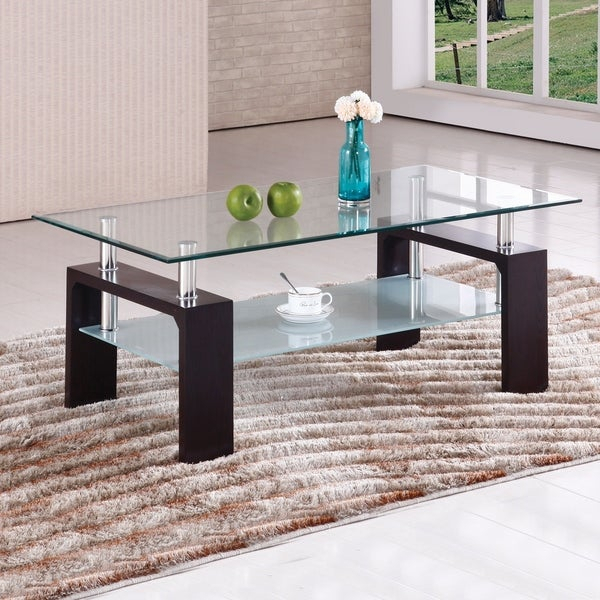Brittaney Mahogany Glass Chrome Coffee Table In Finbar Modern Rectangle Glass Coffee Tables (View 2 of 25)