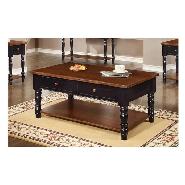 Brockton Cherry 2 Drawer Coffee Table In Dravens Industrial Cherry Coffee Tables (Image 5 of 25)