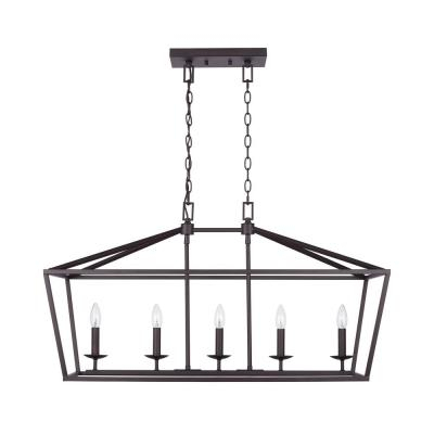 Bronze – Chandeliers – Lighting – The Home Depot Pertaining To Freemont 5 Light Kitchen Island Linear Chandeliers (View 13 of 20)