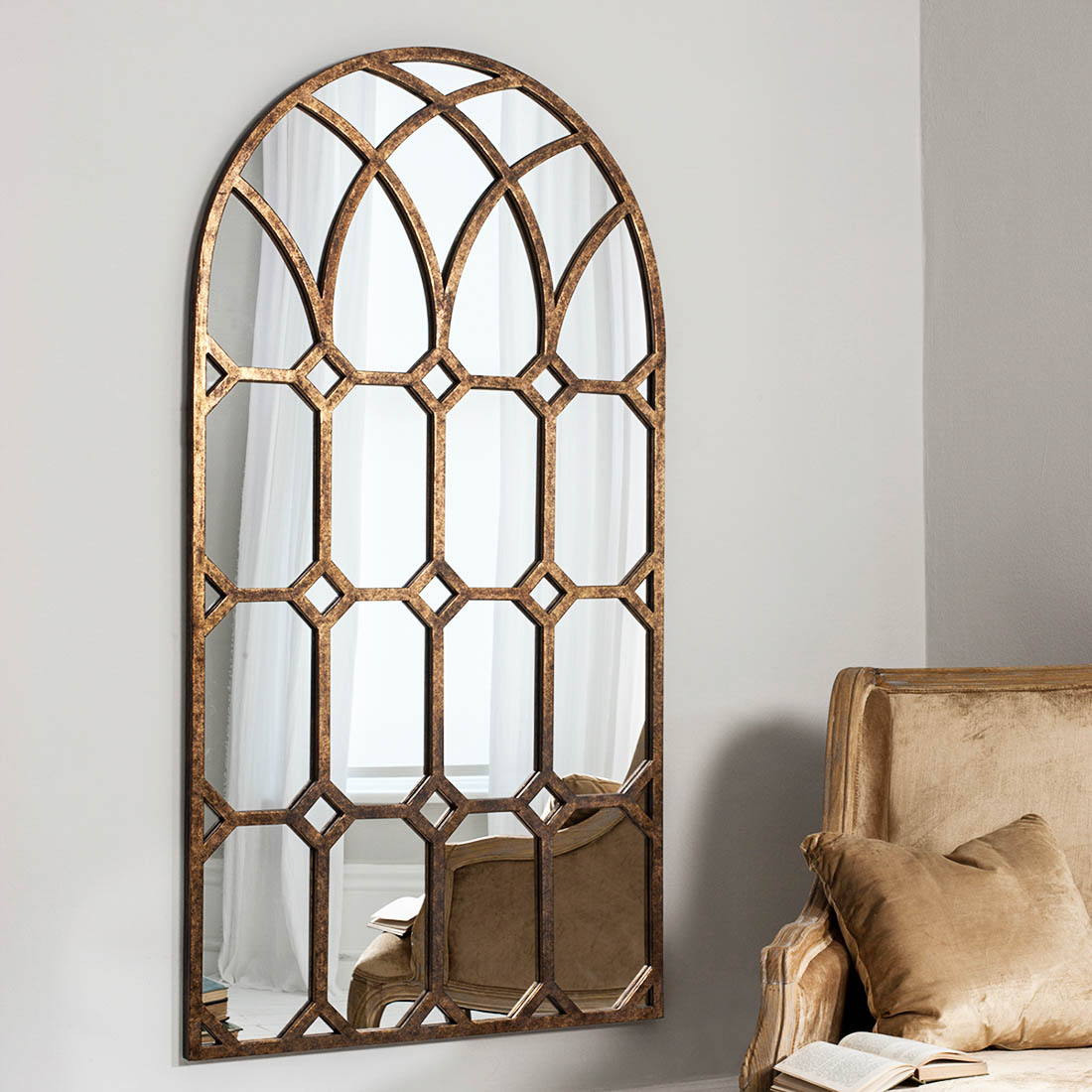 Bronze Gothic Arched Window Wall Mirror With Metal Arch Window Wall Mirrors (Image 4 of 20)