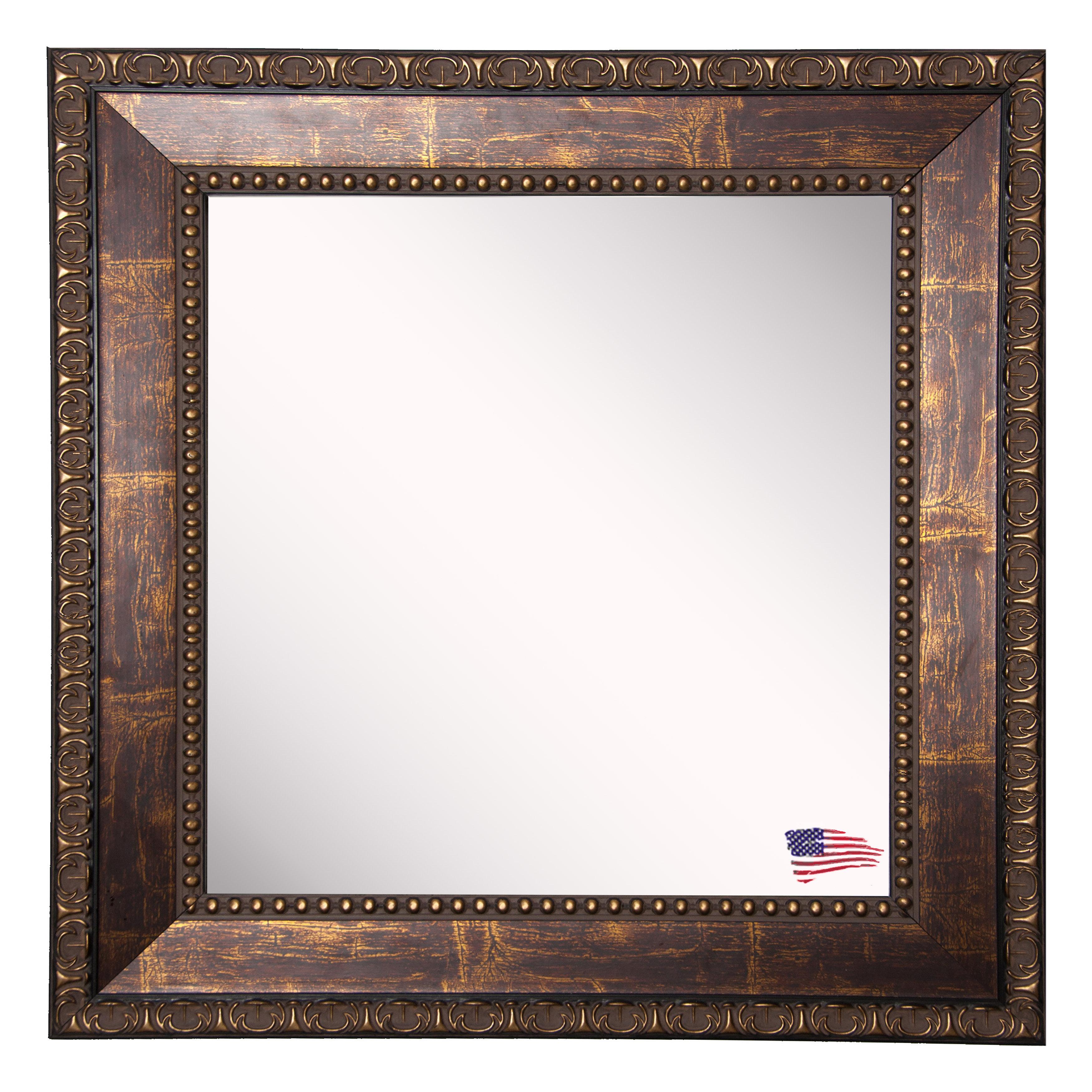 Bronze Wood Roman Bathroom / Vanity Mirror For Kristy Rectangular Beveled Vanity Mirrors In Distressed (View 13 of 20)