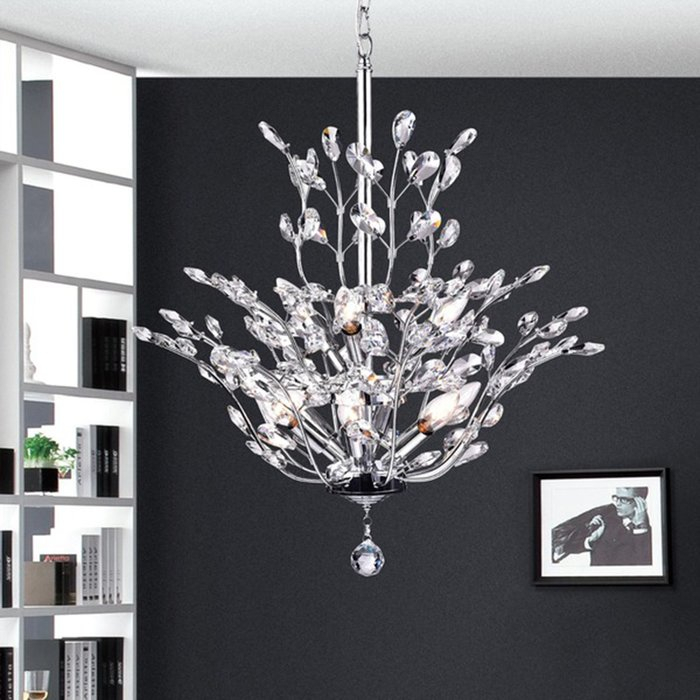 Brookleigh Leaf 9 Light Candle Style Chandelier With Hesse 5 Light Candle Style Chandeliers (Image 8 of 20)