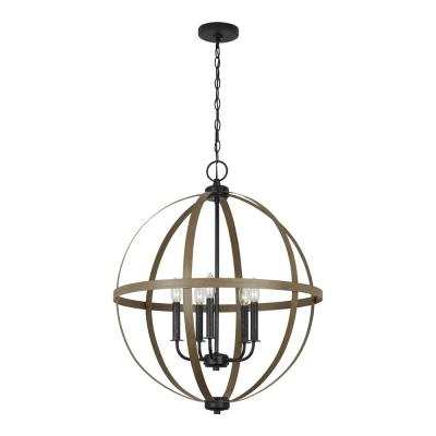 Brown – Chandeliers – Lighting – The Home Depot Pertaining To Buster 5 Light Drum Chandeliers (View 15 of 20)