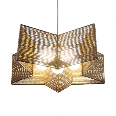 Brown Star Shaped Ceiling Pendant Modern Style Straw Rope Single Head For 1 Light Single Star Pendants (Image 15 of 25)