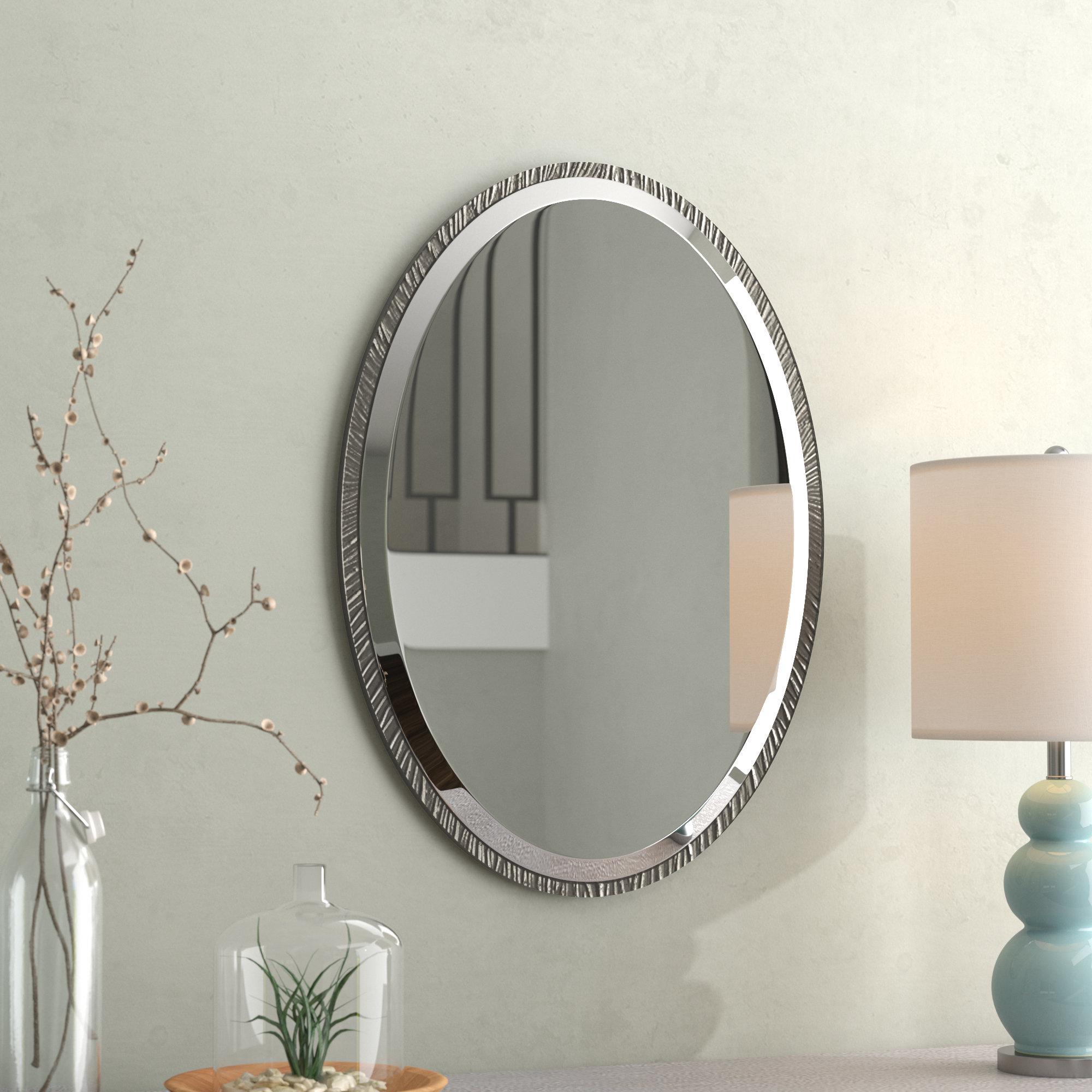 Brushed Nickel Bathroom Mirror | Wayfair Inside Hogge Modern Brushed Nickel Large Frame Wall Mirrors (Image 3 of 20)
