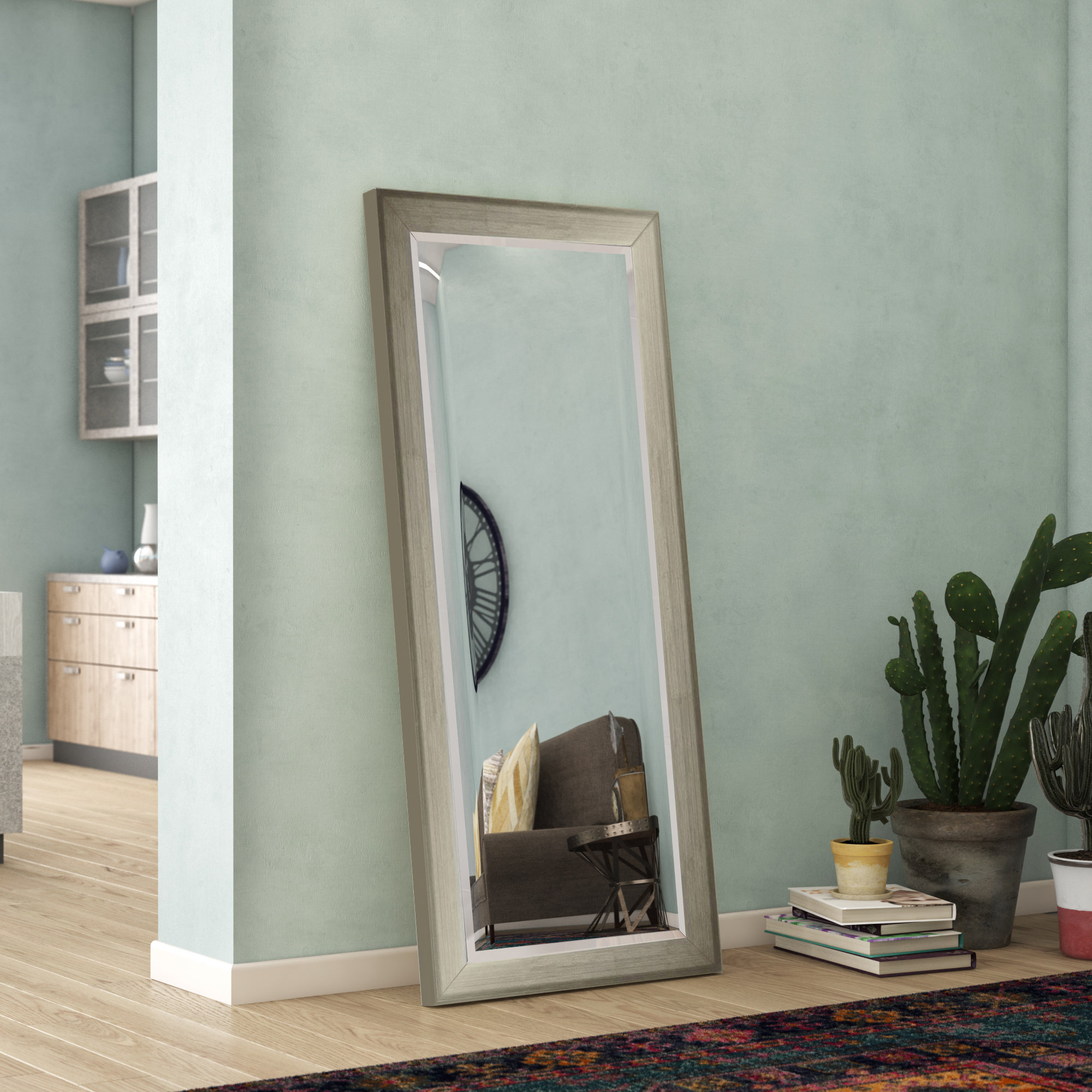 Brushed Silver Tone Full Length Modern & Contemporary Beveled Accent Mirror Inside Modern & Contemporary Beveled Overmantel Mirrors (View 17 of 20)
