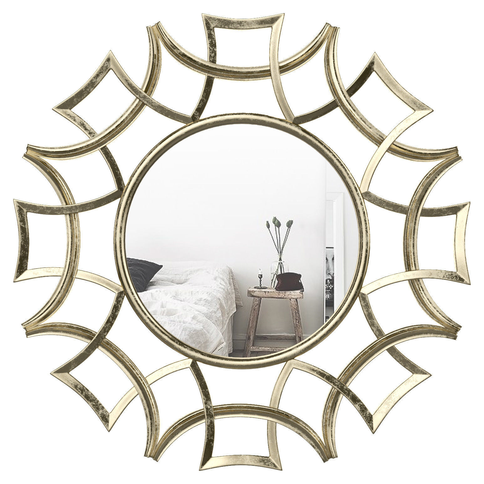 Brylee Traditional Sunburst Mirror Wrlo6935 | 3D Model With Brylee Traditional Sunburst Mirrors (View 2 of 20)