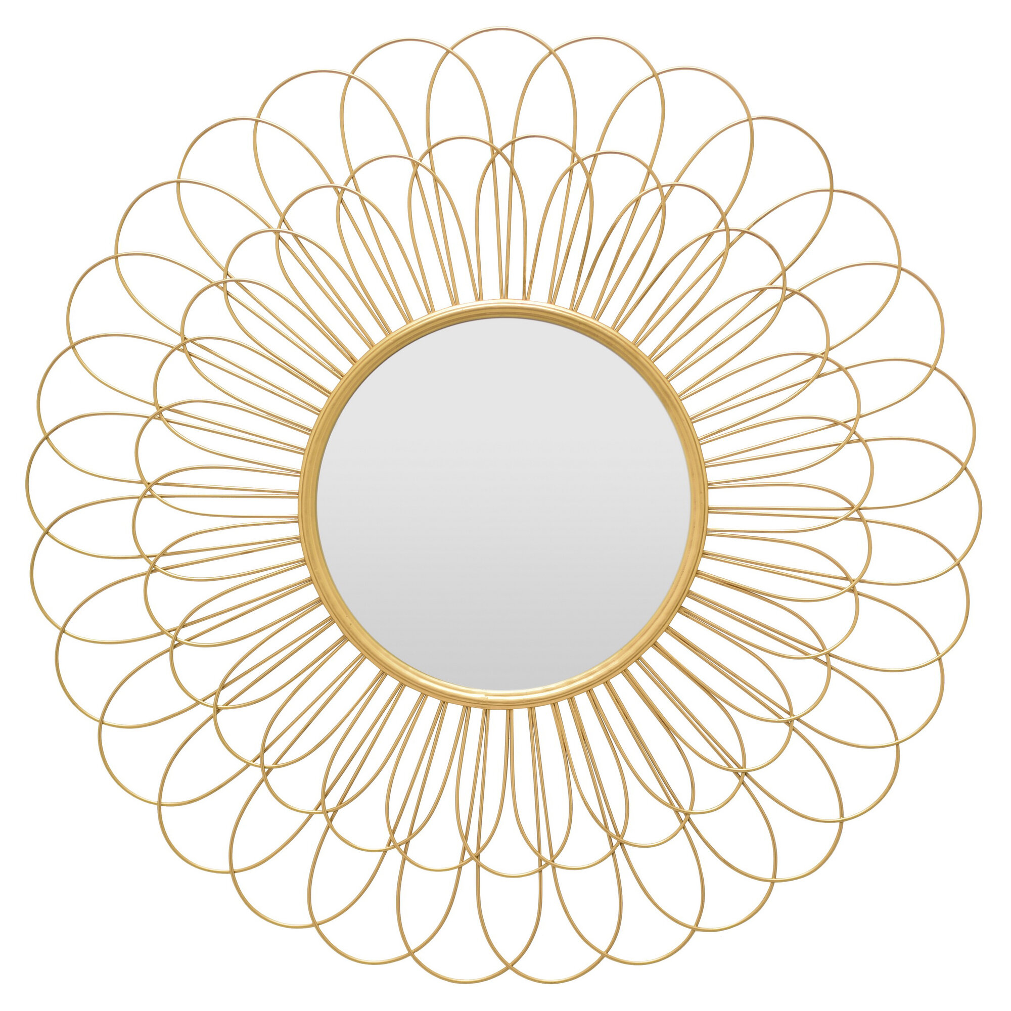 Brysen Petal Contemporary Accent Mirror Pertaining To Harbert Modern And Contemporary Distressed Accent Mirrors (Image 2 of 20)