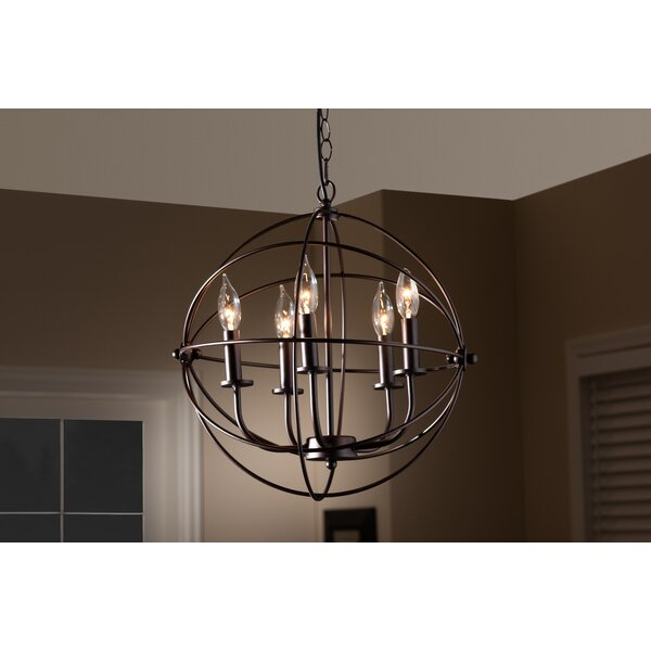 Bucci Orb Cage 5 Light Globe Chandelier With Regard To Waldron 5 Light Globe Chandeliers (Image 2 of 20)