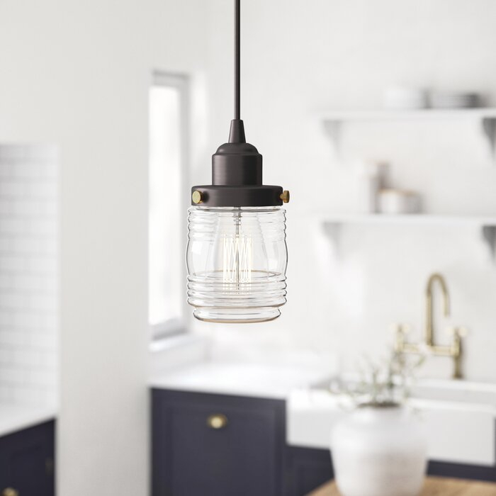 Burgess 1 Light Single Jar Pendant Inside Houon 1 Light Cone Bell Pendants (Image 7 of 25)