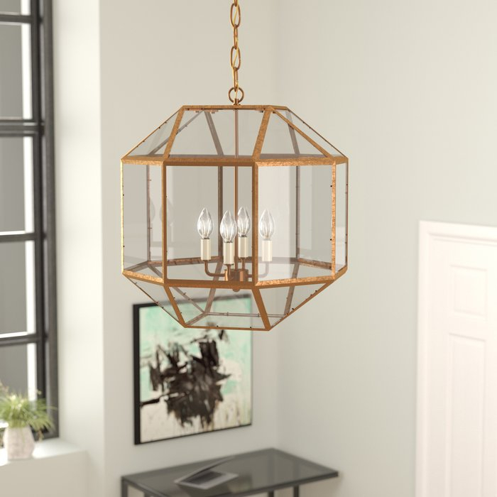 Burkeville 4 Light Geometric Chandelier With Tiana 4 Light Geometric Chandeliers (View 6 of 25)