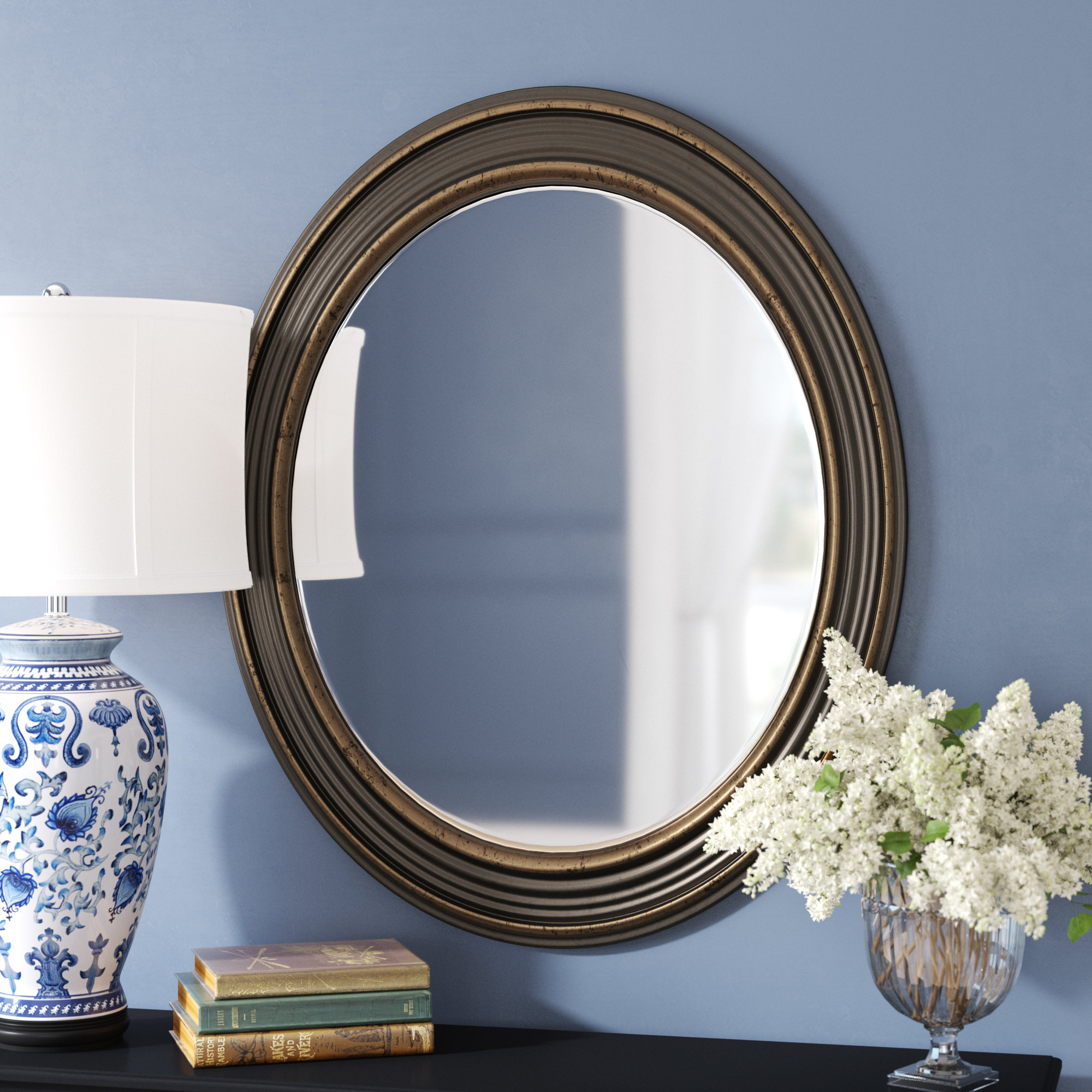 Burnes Oval Traditional Wall Mirror Intended For Pfister Oval Wood Wall Mirrors (Image 1 of 20)