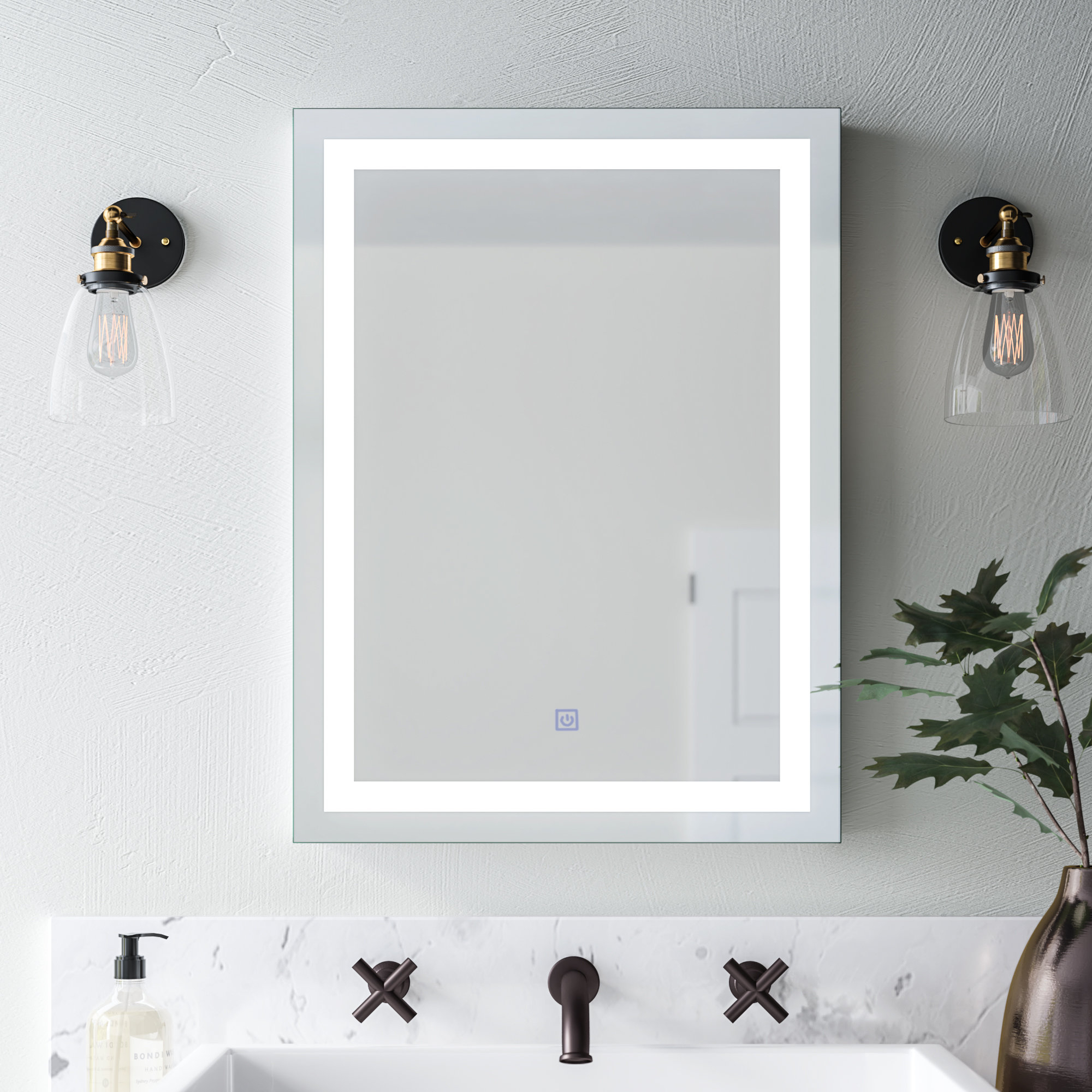 Butcher Illuminated Modern & Contemporary Bathroom Wall Mirror Intended For Mexborough Bathroom/vanity Mirrors (Image 3 of 20)