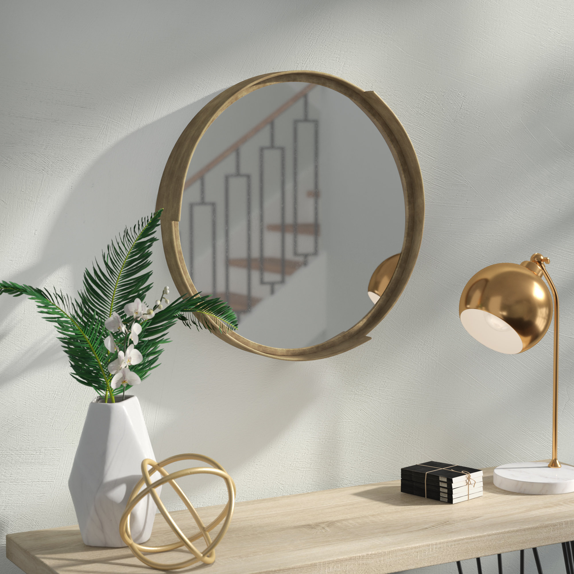 Cabe Round Metal Frame Accent Wall Mirror Within Kinley Accent Mirrors (Image 1 of 20)