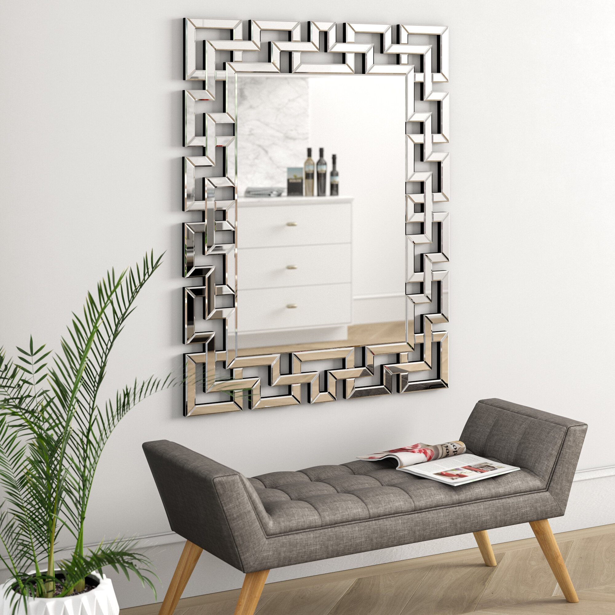 Caja Rectangle Glass Frame Wall Mirror Within Rectangle Ornate Geometric Wall Mirrors (View 19 of 20)