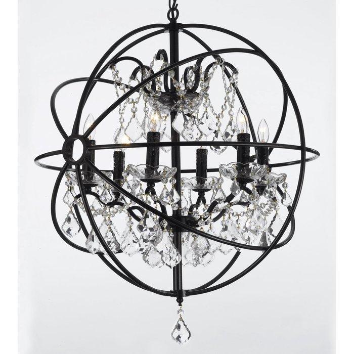 Calderdale Orb 6 Light Globe Chandelier For Alden 6 Light Globe Chandeliers (View 6 of 20)