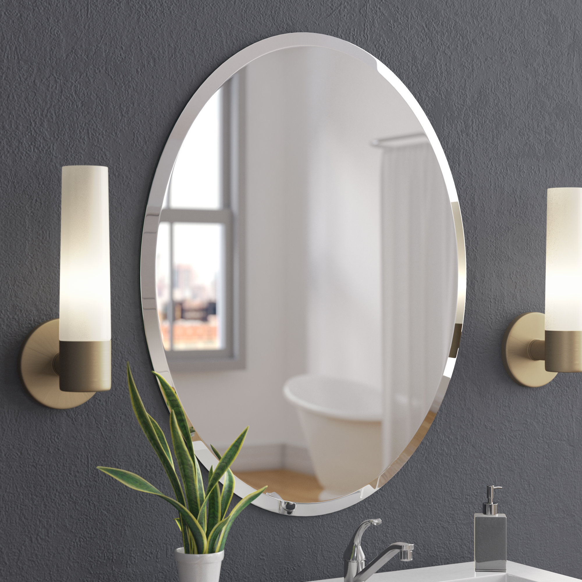 Callison Oval Bevel Frameless Wall Mirror In Sajish Oval Crystal Wall Mirrors (View 5 of 20)