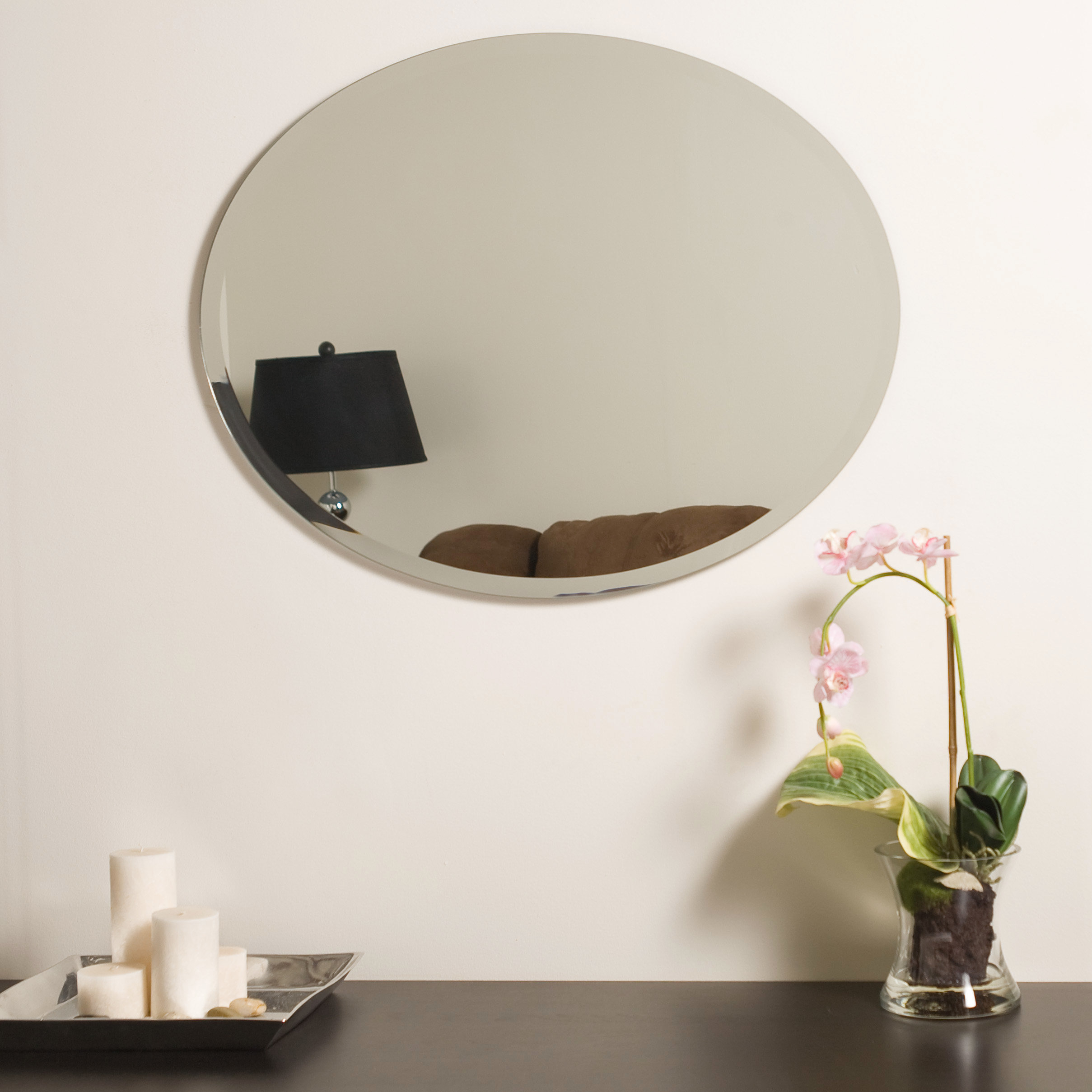 Callison Oval Bevel Frameless Wall Mirror Pertaining To Logan Frameless Wall Mirrors (View 16 of 20)